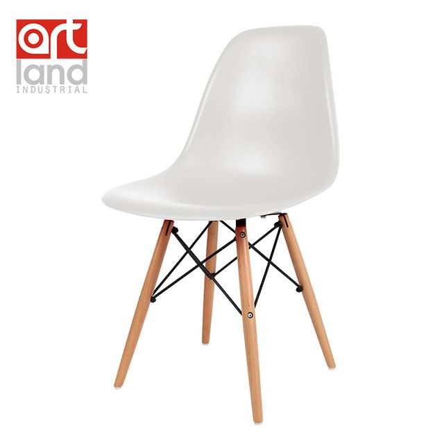 Plastic side chair with beech wood legs Dining chair leisure chair cheap free shipping door to door