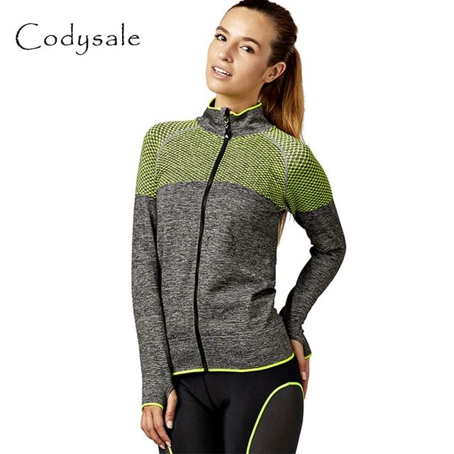 Codysale Fitness Coats for Women Zipper Outwear Jacket Stripe Long-sleeve Sweatshirt Aerobics Workout Coat Women Sportswear