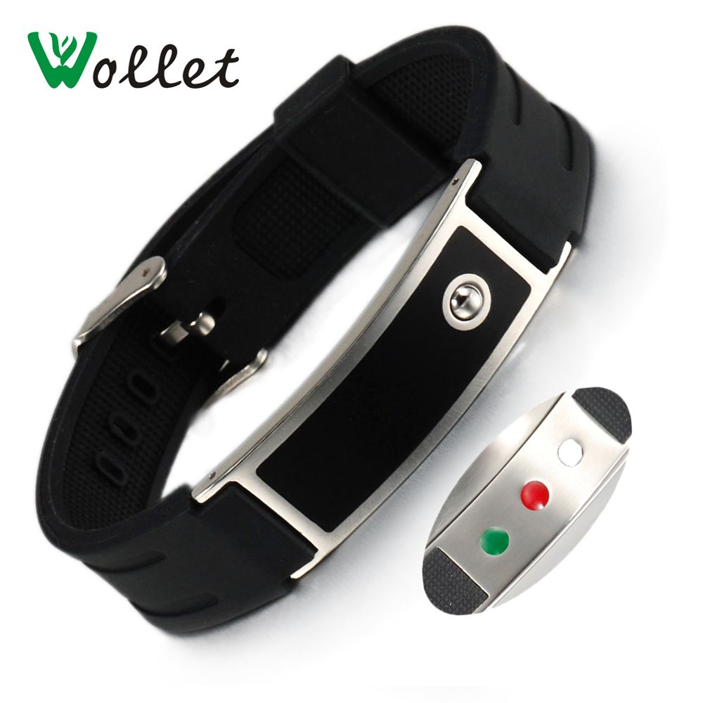 Wollet Energy Wristbands Infrared Germanium Tourmaline Bands Black Silicone Bracelets Bangle Healing Adjustable Size