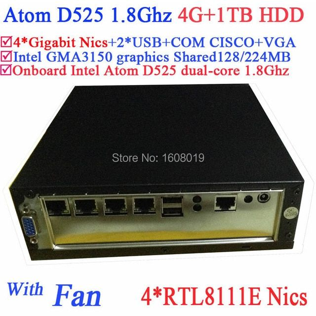 Shuttle Mini PC with Intel Atom D525 1.8Ghz 4 Gigabit Lan Firewall ITX Motherboard 4-way Input and Output GPIO 4G RAM 1TB HDD