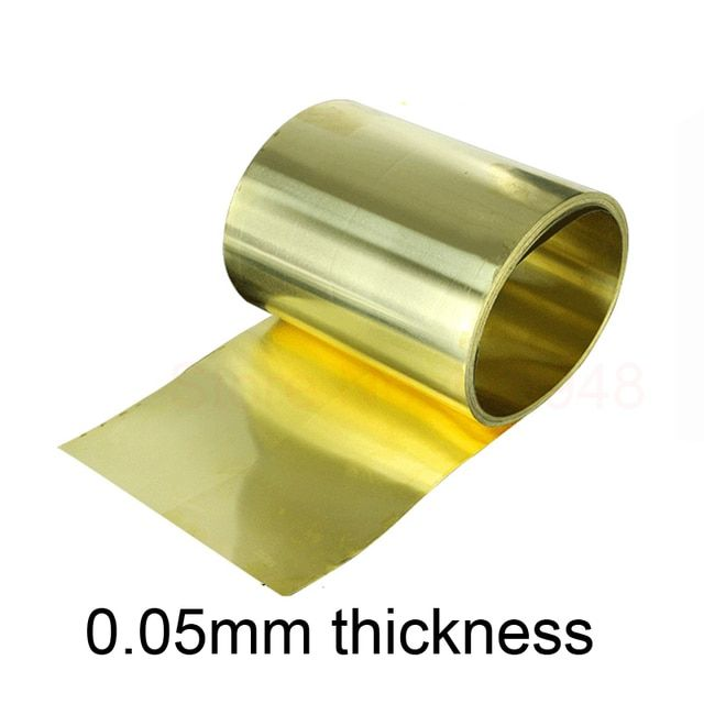 Thin latten flitter gold brass sheet Yellow copper foil Brass plate 0.05 x 100 x 1000 mm 0.05mm thickness brass strip