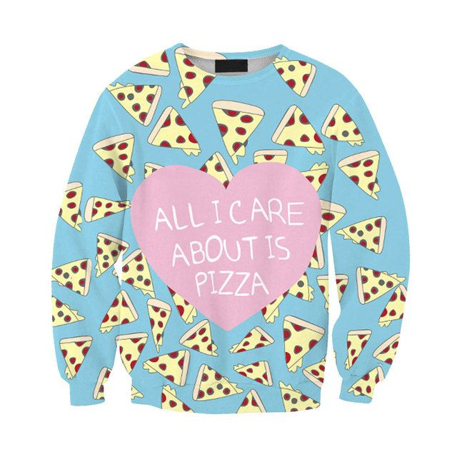 Hot Sale Women 2016 Autumn Fashion 3D Pizza Heart Print Cartoon Women/Man Hoody Long Sleeve Hoodies Sweatshirts Casual