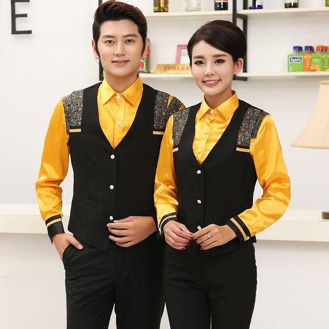 Hotel Restaurant Waiter Server Uniform Bar KTV Long Sleeve Vest Waite Clothes Suit Men Women Waitress Shirt with Vest 18