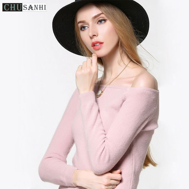 Autumn 2016 women long sleeve loose pink Wool off shoulder sweater knitted Cotton cropped sweaters and pullovers knitwear Pulls