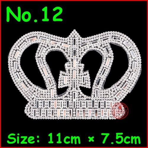 1 pcs Crown Patches HotFix Motifs Iron On Rhinestones Patch White Crystal Applique For Children Women Kids Clothes Wedding Party