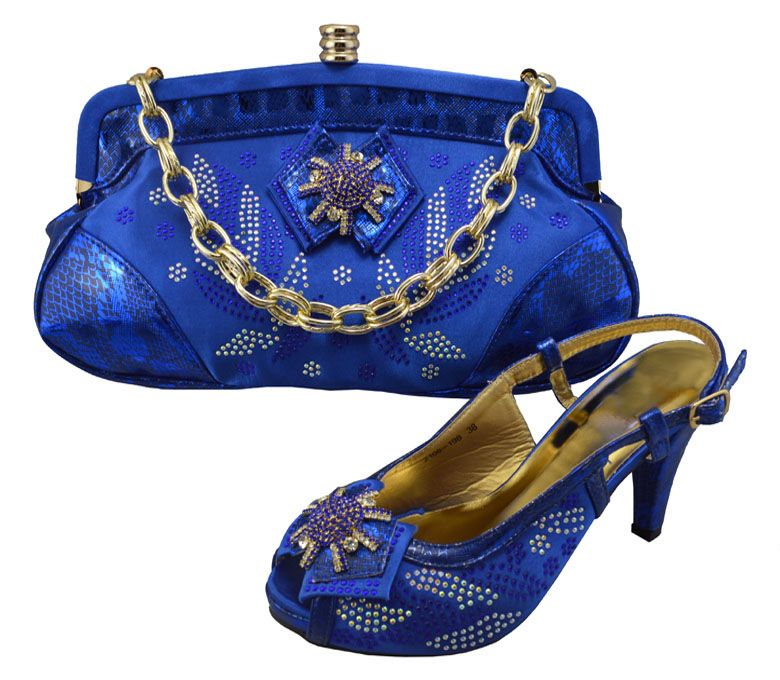 ,Free shipping !!Fashion royal blue 3.5 inch high heel Shoes and bags to match Italian design for lady size 38-43 GF22