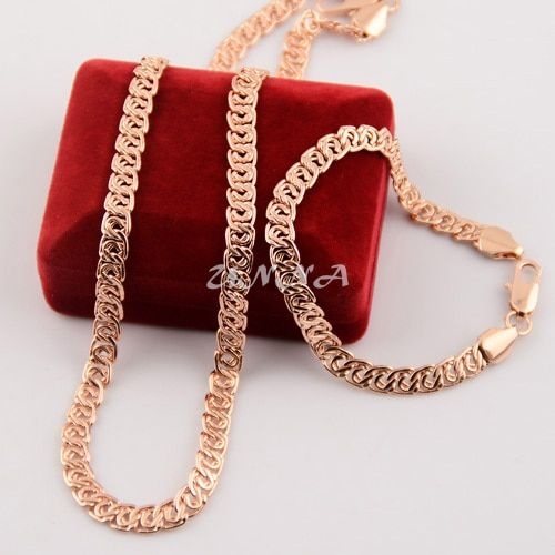 7mm Men's Women Rose Set Jewelry  Rose Gold Filled Necklace Chain Bracelet Set
