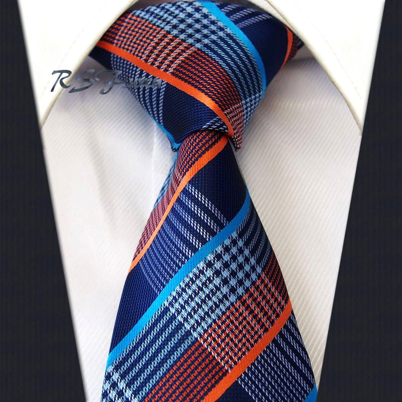 Classic Mens Tie Free Shipping Check Orange Blue Navy 100% Silk New Jacquard Woven  Necktie Wedding