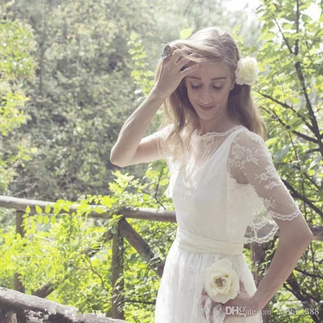 Bohemian Beach A-line Wedding Dresses High Quality Lace Short Sleeve Floor Length Bridal Gown NM 450