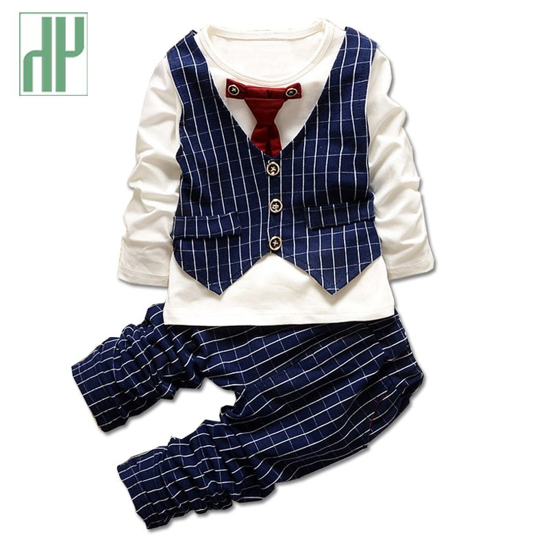 HH 1-3yrs Boys clothes fashion toddler girl clothing set gentleman  suits Necktie stripe shirt+trousers formal kids clothes boys