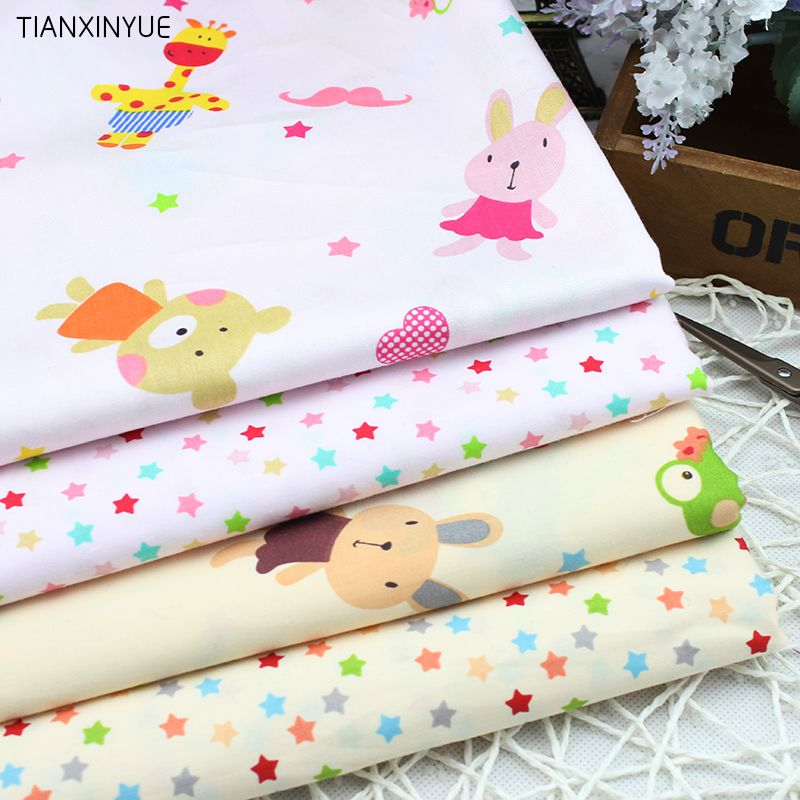 4 pcs 40*50cm Cartoon bear and stars Cotton Fabric for Home Textile Baby Cushions Sewing Fabric Material Telas to Patchwork