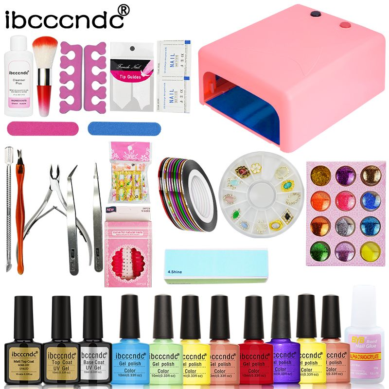Nail Art Set Manicure Tools Kit 36W UV Lamp + 8 Color 10ml Gel Polish Base Matte Top Coat UV Gel with Remover Glitters Decals