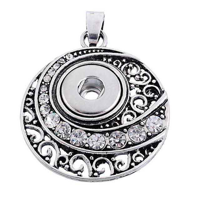 Hot Round crystal patten Snap Button Pendant Necklace fit 12MM snap buttons DIY fittings Fashion hot selling XL9024