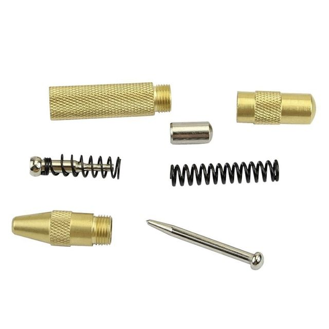 New Brass Yellow Automatic Center Punch Spring Loaded Chrome Rivet Screw Auto Mark Hole Length 127mm