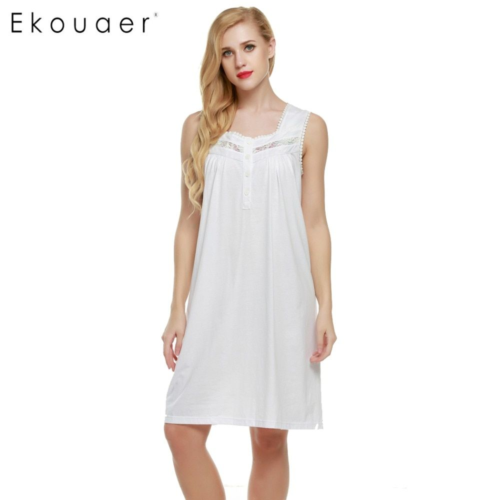 Ekouaer Nightgown Sexy Women Lingerie Nightwear Sleeveless Lace Nightdress Sleepwear Summer Female Nightdress Home Clothing