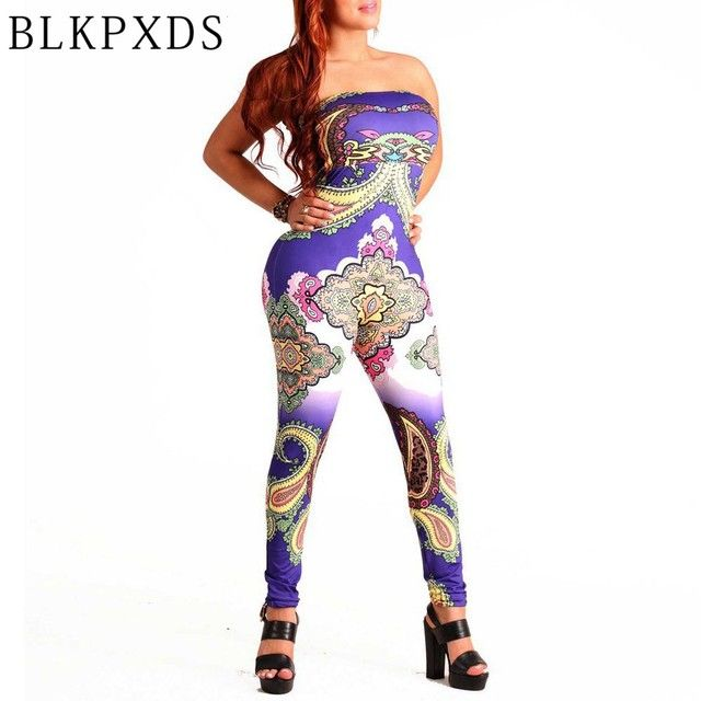 New Summer Style Novelty Digital Print Strapless   Women Jumpsuit Bodysuit Sexy Jumpsuits for women Clubwear Rompers
