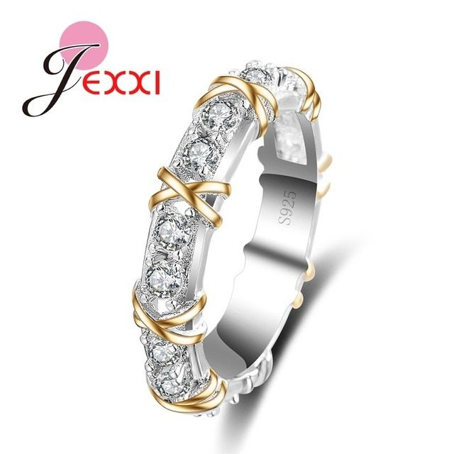"JEXXI 925 Fashion Jewelry Golden ""X"" Cross Beautiful Design Promise Ring With Shiny White Cubic Zirconia Crystal"