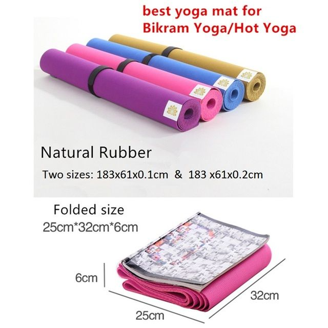 Yoga Mat Natural Rubber Eco-friendly Non-slip For Bikram Best Yoga Mat For Hot Yoga Fitness Easy to fold Gym Mat Rubber