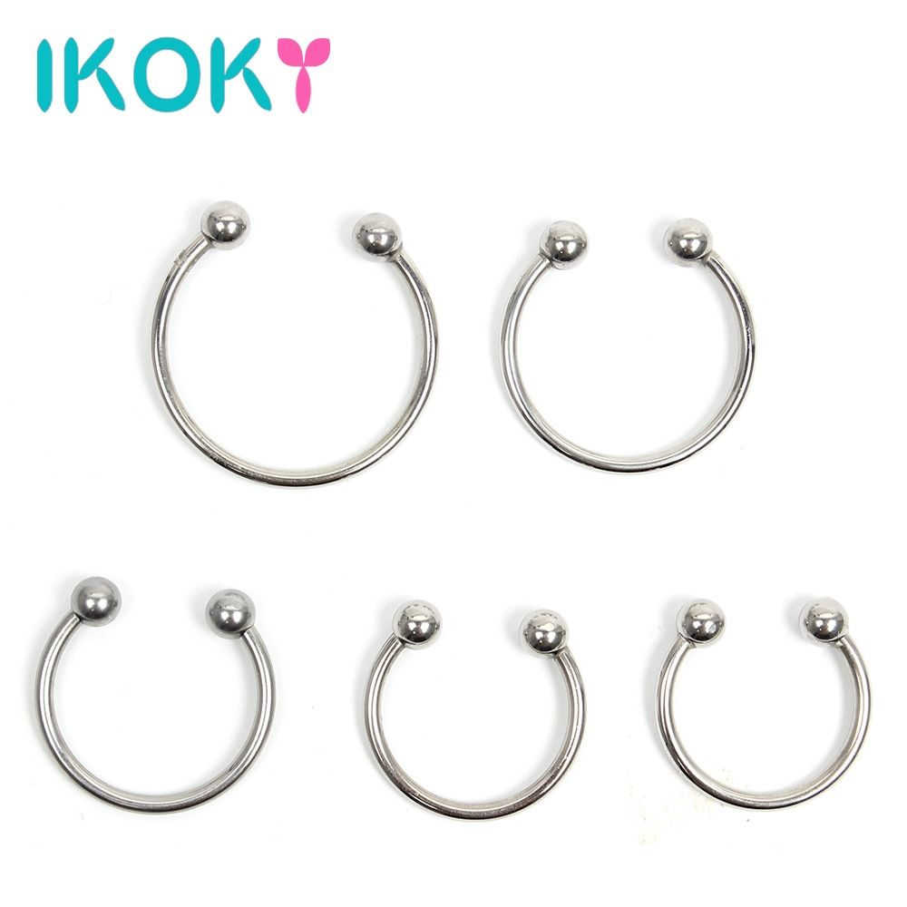 IKOKY Silver Delay Ejaculation Stainless Steel Penis Ring Cock Ring Male Chastity Device Adult Products Sex toys for Men