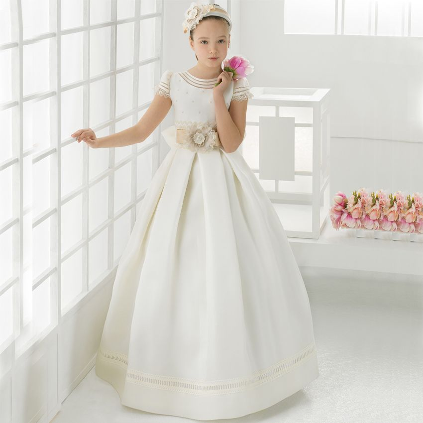 Elegant Satin Ball Gwon First Communion Dresses For Girls 2016 A-line High Collar Flower Girl Dresses kids prom evening gowns