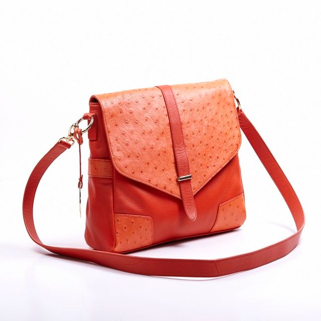 Butterfly Fish Women Ostrich Embossed Leather Envelope Crossbody Clutch Shoulder Bag Free Shipping