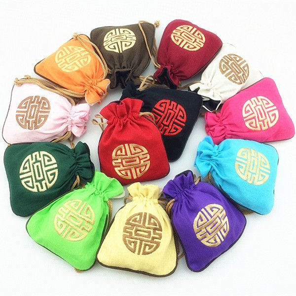 Linen Cotton Small Drawstring Bags Travel Jewelry Storage Pouches Chinese style Embroidery Chocolate Candy Tea Gift Bag Birthday