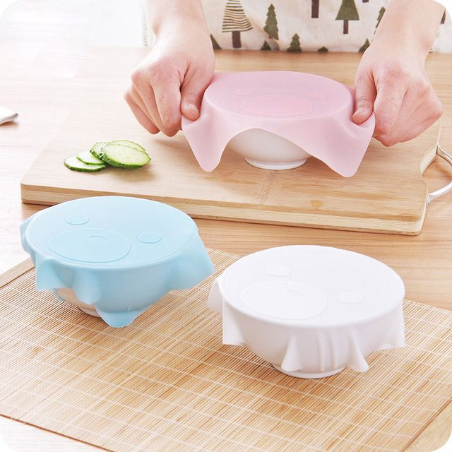 3 PCS Food-grade Silicone Wrap Tableware Microwave Food Cover Plastic Wraps Ciling Film Bowl Sealing Cap