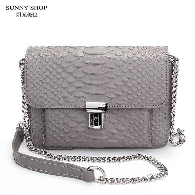 SUNNY SHOP American Brand Designer Luxury Mini Leather Bag Genuine Leather Crossbody Bag High Quality Serpentine Pattern Leather