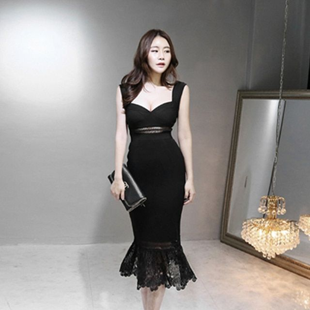 Classic sexy party ball night club dinner ceremony vacation dating office sleeveless backless black mermaid deepV tight dress