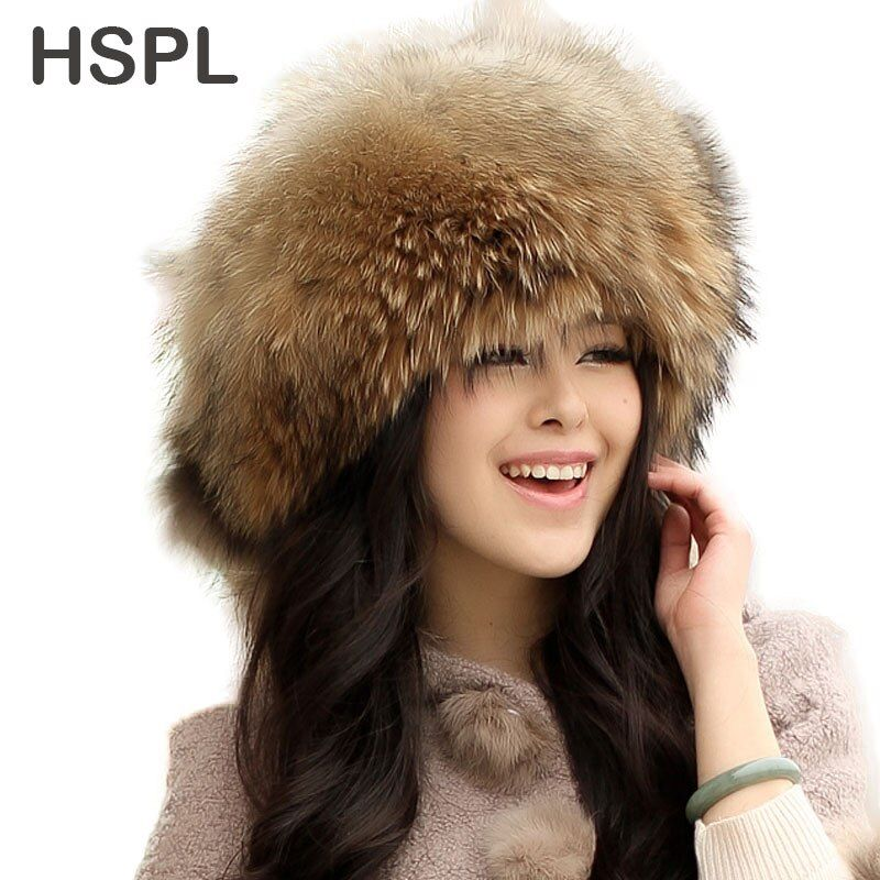 CDF091 Autumn And Winter Male Women Raccoon Fur Hat Fox Fur Hat Women Mongolian Hat