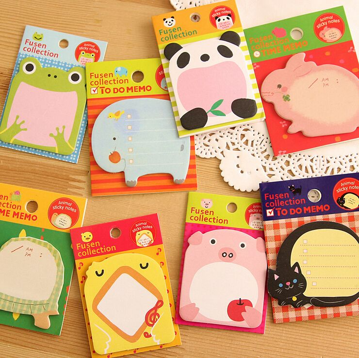 Cute Animals Self-Adhesive Memo Pad Notepad Sticky Notes Bookmark Marker Home Office School