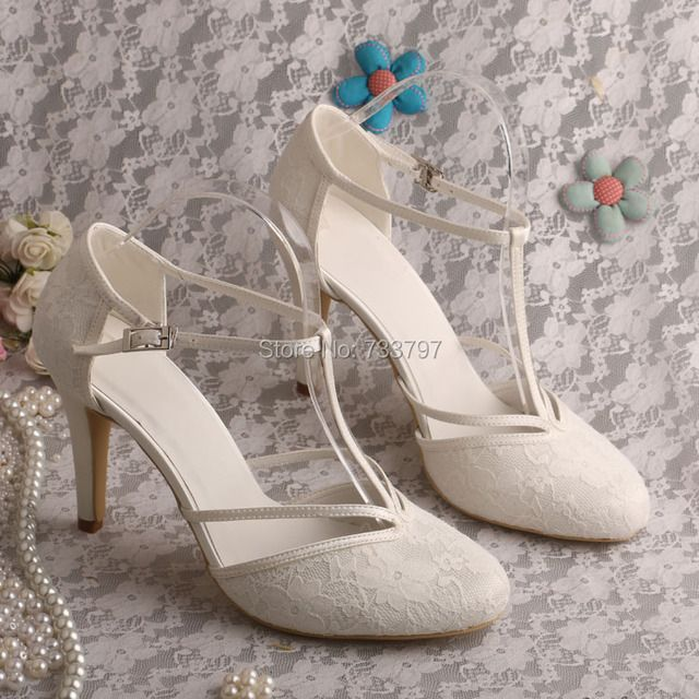 Wedopus MG3011 Women Ivory Lace Sandals Wedding Evening Shoes High Heeled