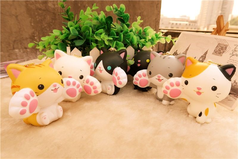 Kuutti Suqishy 24 PCS Cute Japanese Cartoon Kawaii Smile Cat with Big Claw Squishy Phone Strap bag pendant with tag Anti Stress