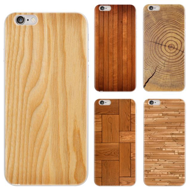 Wood Grain Design For iPhone 5 5s SE 6 6s 6 Plus 6s Plus 7 7 Plus 8 8 Plus X Painted TPU Soft Phone Case Silicone Back Cover