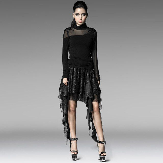 PUNK RAVE PUNK style black skirt with asymmetric and broken-hole design Q-201