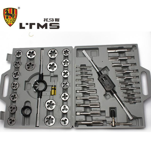 45PCS/SET Alloy Steel Screw Die Threading Tool Filettatura Metrica Herramienta De Mano Diagnostic Tap Set