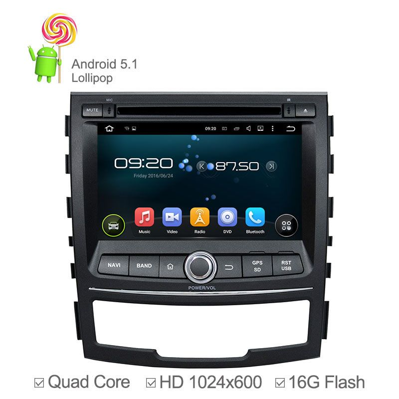 1024*600 Quad Core Android 5.1Car DVD Player for Ssangyong Korando 2010 2011-2013 with wifi GPS Navigation Radio Bluetooth