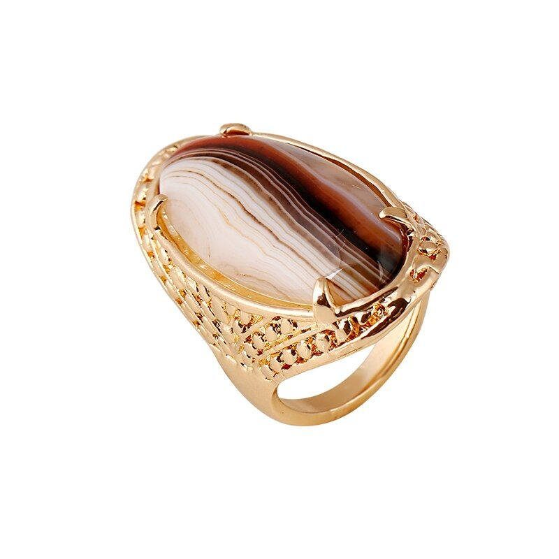 Big Oval Natural Colorful Striped Agat Rings For Women Botswana Agat Men's Ring Party Jewelry Real Carnelian Stone With Gold