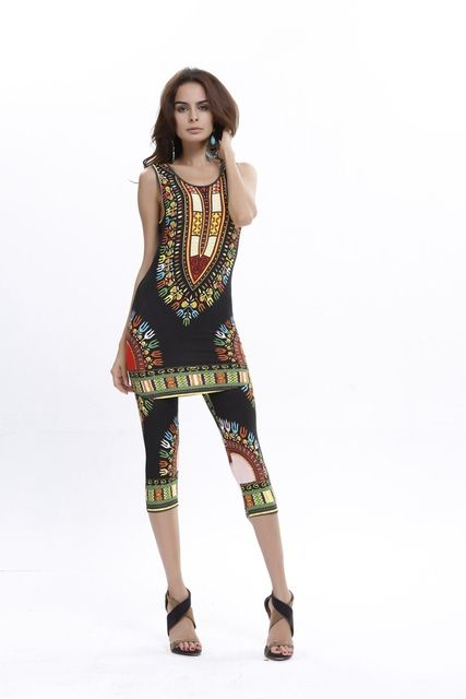 Hot sale summer new fashion women geometric ethnic African totem printing comfortable elastic vest + pants suit 6 color
