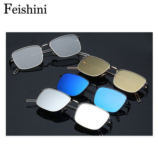 FEISHINI Delicate Small frame Rectangle Sunglasses Women Polarized UVB 15g Super light weight Driver Sunglass Men Brand Designer