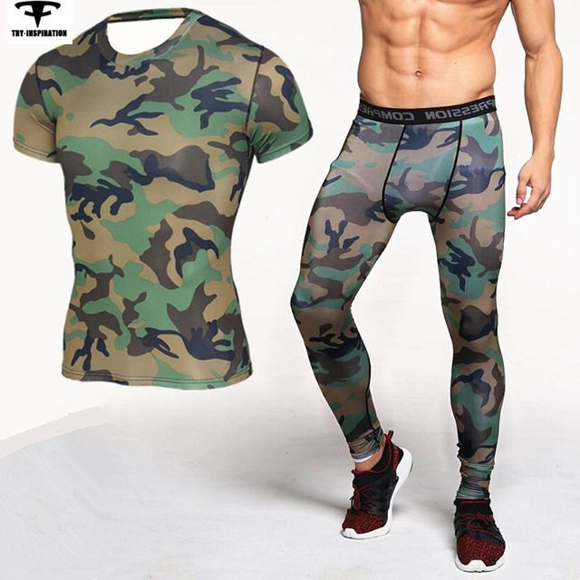 Camouflage Running Sets Compression Tight Short Sleeve TShirt+Leggings Fitness Quick Dry Crossfit Sports Suits S-3XL