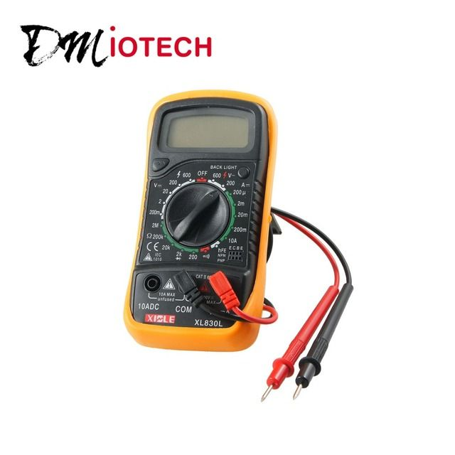 DMiotech Black Yellow MAS830L Volt Amp Ohm Meter Digital Multimeter w 2 Cables