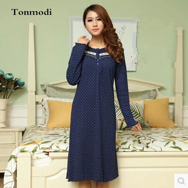 Nightgowns Women Elegant Spring And Autumn Night-Robe Long-sleeve Cotton Nightdress Fashion Women Lounge Sleepshirts