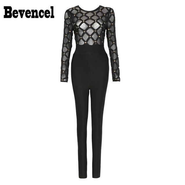 Bevencel 2016 Hot Style Womens Jumpsuit Long Sleeves Full Length Rivets Mesh Plaid Bodycon Women Party Club Bandage Jumpsuit