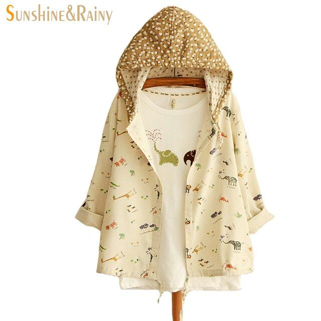 2017 Japanese style spring jacket women giraffe elephants forest cartoon print long sleeve hooded cotton women coats and jackets