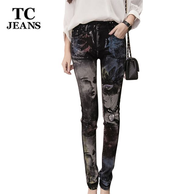 TC Skinny Jeans For Women 2016 High Waist Jeans Rhinestone Diamond Print Pencil Jeans Female Denim Pants Trousers 26-32 FT00472