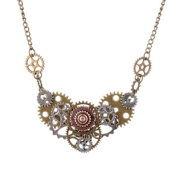Best Selling Different Gears Hand Connected DIY Steampunk Necklace Vintage Fashion Jewelry