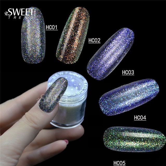 1 Bottle Laser Mermaid Effect Glitter Powder Shining Nail Art Tip Decoration Magic Glimmer Powder USA Powder 10g Jar LAHC01-05