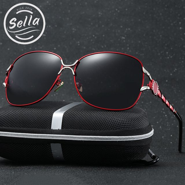 Sella New Arrival Women Polarized Sunglasses Classic Oversized Butterfly Jade Nosepad Delicated Sun Glasses Summer Driving
