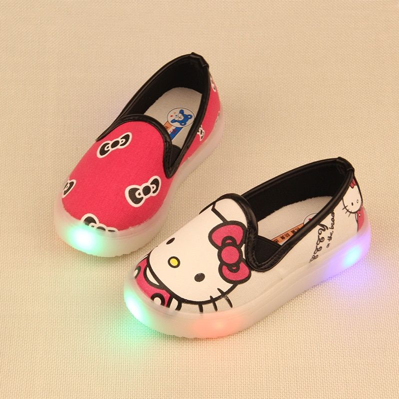 kids shoes with light boys shoes 2016 spring child canvas sport led girls princess shoes cartoon baby boys sneakers size 26-30